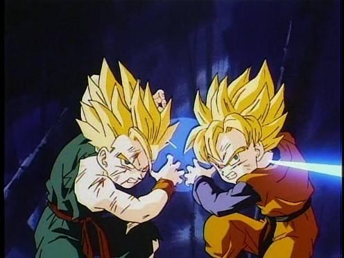 与孙悟空和贝吉塔这种单箭头的木头脑袋不同,这两个小伙子在战斗时
