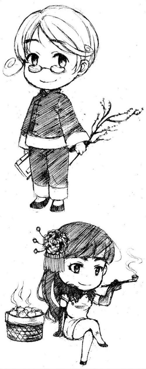 女孩树下读书简笔画